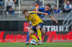 Christian Cappis (Hobro IK) og Mathias Hebo Rasmussen (Lyngby Boldklub) under kampen i 3F Superligaen mellem Lyngby Boldklub og Hobro IK den 20. juli 2020 på Lyngby Stadion (Foto: Claus Birch).