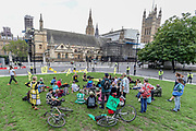 Members of the Extinction Rebellion (XR) environmental campaign group gather in central London to blockade Parliament. XR plan to peacefully disrupt the UK Parliament with actions planned over two weeks, until MPs back the Climate and Ecological Emergency Bill and prepare for crisis with a National Citizens' Assembly. (VXP Photo/ Vudi Xhymshiti)