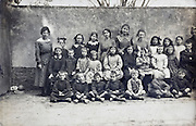school group portrait with teacher 1918 France