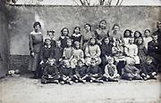 school group portrait with teacher 1918 France