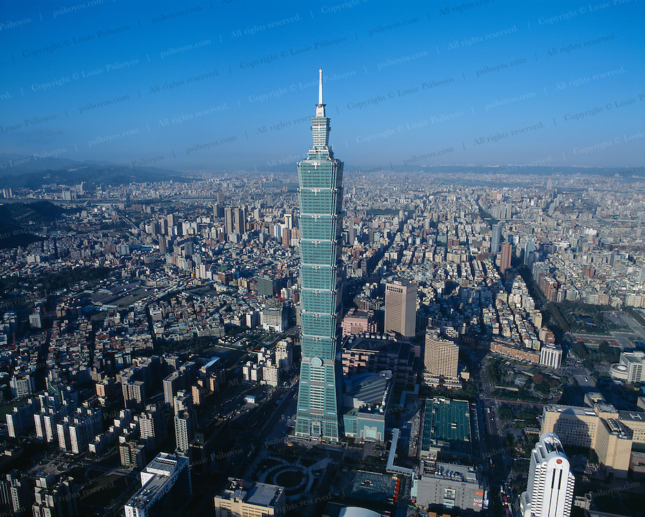 Aerial view of Taipei 101, the world's new tallest building.