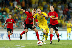 August 3, 2017 - Ljubljana, Slovenia, Slovenia - Nicolas Hofler (R) and Philip Lienhart (L) of SC Freiburg and Senijad Ibrecic of NK Domzale battle for the ball during the UEFA Europa League Third Qualifying Round match between SC Freibur and NK Domzale at Arena Stozice on 3 rd August , 2017 in Ljubljana, Slovenia. (Credit Image: © Damjan Zibert/NurPhoto via ZUMA Press)