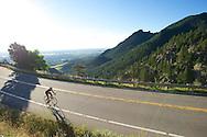 Chris Lee of Louisville climbs Flagstaff Mountain Road in Boulder, CO. © Brett Wilhelm