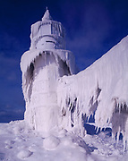 Icicles encasing the St. Joseph North Pier Outer Light following a sever winter storm on Lake Michigan, January 10, 2015, St. Joseph, Michigan.