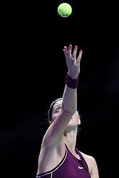 October 21, 2018 - Singapore, Singapore - Petra Kvitova of the Czech Republic serves during the match between Petra Kvitova and Elina Svitolina on day 1 of the WTA Finals at the Singapore Indoor Stadium. (Credit Image: © Paul Miller/ZUMA Wire)
