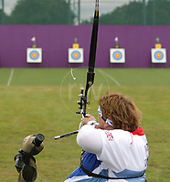 Paralympics London 2012 - ParalympicsGB - Archery Womens Individual Recurve - W1/W2 Heats 30th August 2012<br />   <br /> Kate Murray competing in the Womens Archery Individual Recurve - Standing Heats at the Paralympic Games in London. Photo: Richard Washbrooke/ParalympicsGB
