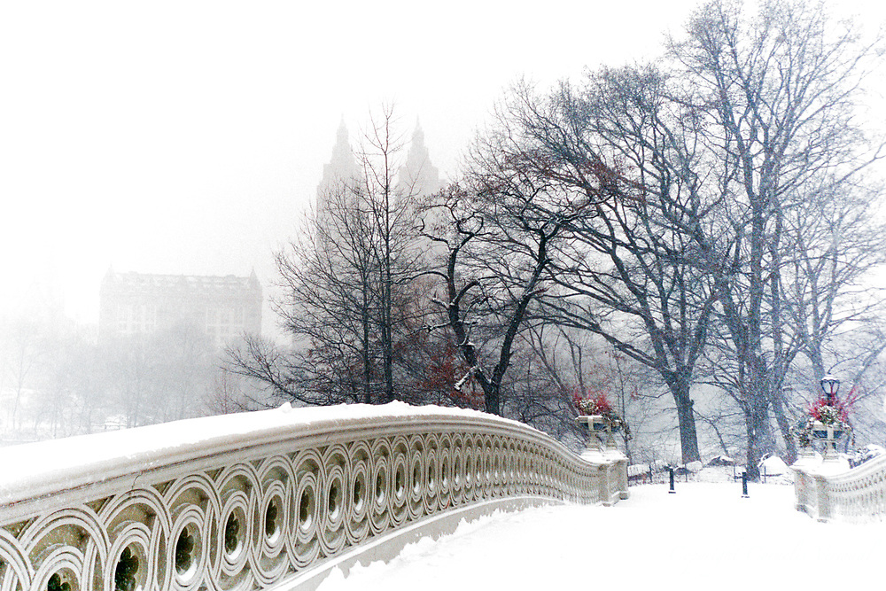 The Lake at Bow Bridge with the vague outline of the San Remo apartment building during a snow storm in Central Park, New York City