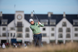 Actor Kyle McLachlan plays his second shot from the thick rough after slicing his tee shot at the 17th hole during day two of the Alfred Dunhill Links Championship at Carnoustie Golf Links, Angus.