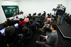 Sani Becirovic, Davor Uzbinec during press conference when Jurica Golemac (R) was introducted as a new head coach for KK Cedevita Olimpija  on January 28, 2020 in Arena Stozice, Ljubljana, Slovenia. Photo By Grega Valancic / Sportida