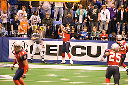 14 March 2009: Laroche Jackson pulls down a field goal attempt by the storm that went short. The Sioux Falls Storm were hosted by the Bloomington Extreme in the US Cellular Coliseum in downtown Bloomington Illinois.