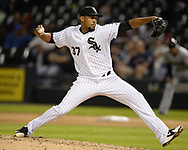 CHICAGO - SEPTEMBER 25:  Juan Minaya #37 of the Chicago White Sox pitches against the Cleveland Indians on September 25, 2018 at Guaranteed Rate Field in Chicago, Illinois.  (Photo by Ron Vesely)  Subject: Juan Minaya