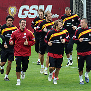 Galatasaray's players (Left to Right) Arda TURAN, Ayhan AKMAN, Emre ASIK, Gokhan ZAN during their training session at the Jupp Derwall training center, Tuesday, April 20, 2010. Photo by TURKPIX