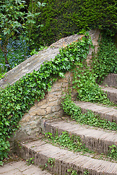 Detail of wall and steps at Hidcote Manor Garden
