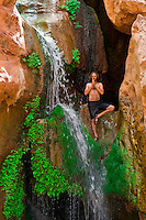 Elves Chasm waterfall, Whitewater rafting trip (oar trip) on the Colorado River in Grand Canyon, Grand Canyon National Park, Arizona USA