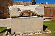Sarcophagus adorned with rosettes found at Caesarea, on the Mediterranea sea, Israel