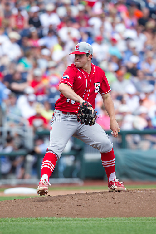 North Carolina State Wolfpack pitcher Carlos Rodon #16 pitches during Game 3 of the 2013 Men's College World Series between the North Carolina State Wolfpack and North Carolina Tar Heels at TD Ameritrade Park on June 16, 2013 in Omaha, Nebraska. The Wolfpack defeated the Tar Heels 8-1. (Brace Hemmelgarn)