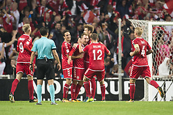 September 1, 2017 - Copenhagen, Denmark - The Danish players celebrate their fourth goal during the FIFA World Cup 2018 Qualifying Round between Denmark and Poland at Telia Parken Stadium in Copenhagen, Denmark on September 1, 2017  (Credit Image: © Andrew Surma/NurPhoto via ZUMA Press)