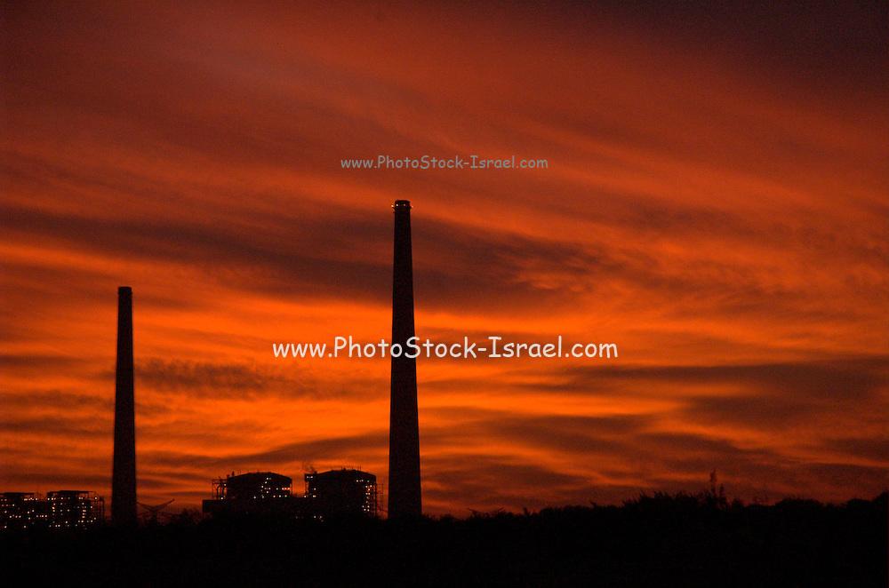 sun set over the Hadera power plant, Israel
