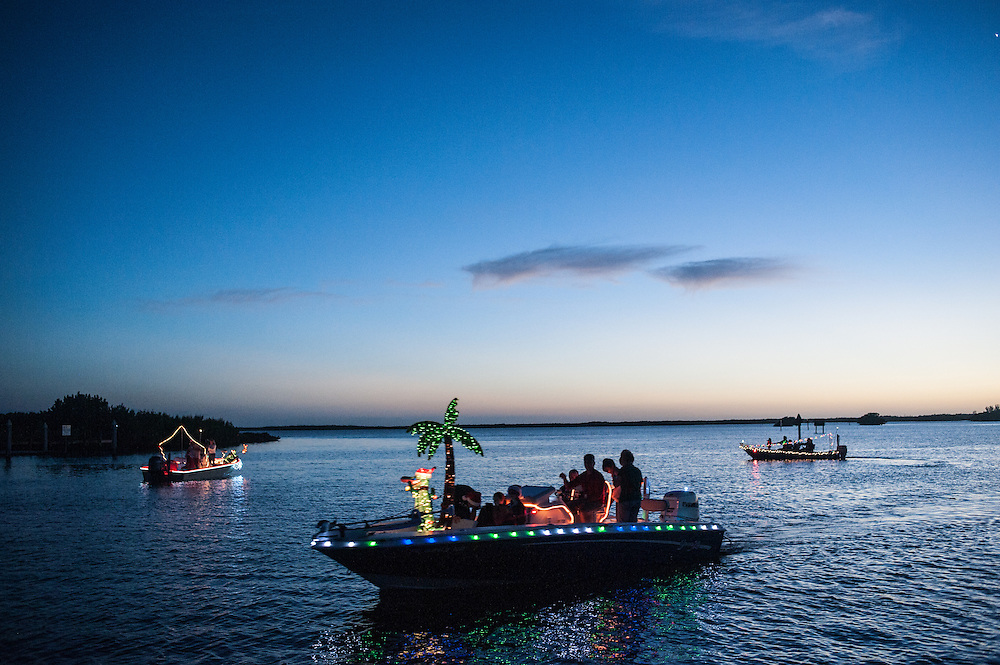 Boats gather at the mouth of the Barren River in Everglades City, FL as they prepare for the Christmas boat parade, December 21, 2013