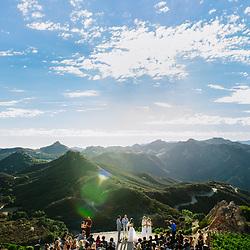 A celebrity wedding at Malibu Rocky Oaks Estate Vineyards in Malibu, California.