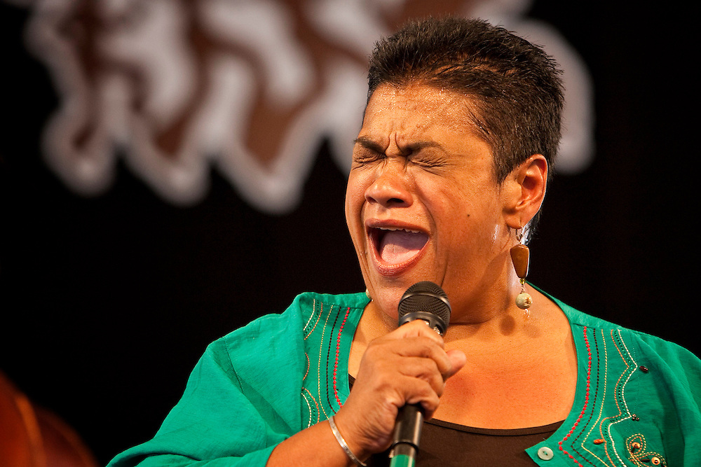 New Orleans jazz vocalist Leah Chase performs on the WWOZ Jazz Tent stage at the New Orleans Jazz and Heritage Festival at the New Orleans Fair Grounds Race Course in New Orleans, Louisiana, USA, 25 April 2009.