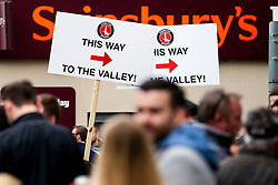 Charlton Athletic fans arrive at the Valley for the second leg of their side's Sky Bet League One Playoff Semi Final against Doncaster Rovers - Mandatory by-line: Robbie Stephenson/JMP - 17/05/2019 - FOOTBALL - The Valley - Charlton, London, England - Charlton Athletic v Doncaster Rovers - Sky Bet League One Play-off Semi-Final 2nd Leg