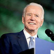 Democratic presidential candidate Joe Biden addresses supporters during a primary night event at the University of South Carolina's Carolina Volleyball Center in Columbia, S.C., on Saturday, February 29, 2020