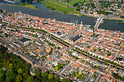 Nederland, Overijssel, Gemeente Kampen, 27-08-2013. Overzicht Kampen, met IJsselbrug (Stadsbrug), IJsselkade en binnenstad.<br /> Overview Kampen and river IJssel.<br /> aerial photo (additional fee required);<br /> copyright foto/photo Siebe Swart.