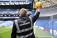 Hawk-Eye staff testing the Hawk-Eye system with the match ball before k/o. Barclays Premier league match, Chelsea v AFC Bournemouth at Stamford Bridge in London on Saturday 5th December 2015.<br /> pic by John Patrick Fletcher, Andrew Orchard sports photography.