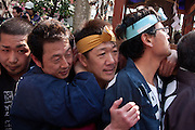 Festivsal supporters carry mikoshi sporting large phalluses during the Kanamara matsuri or festival of the iron phallus in Kawasaki Daishi near Tokyo, Japan. Sunday April 1st 2012