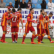 Galatasaray's Umut Bulut (L) celebrate his goal with team mate during their Turkish Super League soccer match Caykur Rizespor between Galatasaray at the Yeni Rize Sehir stadium in Rize Turkey on Saturday, 30 May 2015. Photo by TVPN/TURKPIX