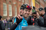 Chris Lawless of Team Ineos celebrates after the end of stage 4 as he takes the overall classification during stage four of the Tour de Yorkshire from Halifax to Leeds, , United Kingdom on 4 May 2019.