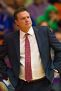 FORT WORTH, TX - JANUARY 28: Kansas Jayhawks head coach Bill Self looks on against the TCU Horned Frogs on January 28, 2015 at Wilkerson-Greines AC in Fort Worth, Texas.  (Photo by Cooper Neill/Getty Images) *** Local Caption *** Bill Self