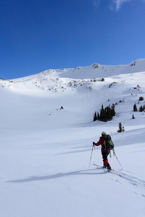 Skiing in Aneroid Basin, Wallowa Mountains, Oregon.