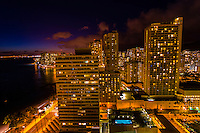 Nighttime overview of Waikiki from the Waikiki Beach Marriott Resort, Honolulu, Oahu, Hawaii, USA