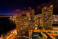 Nighttime overview of Waikiki from the Waikiki Beach Marriott Resort, Honolulu, Oahu, Hawaii, USA