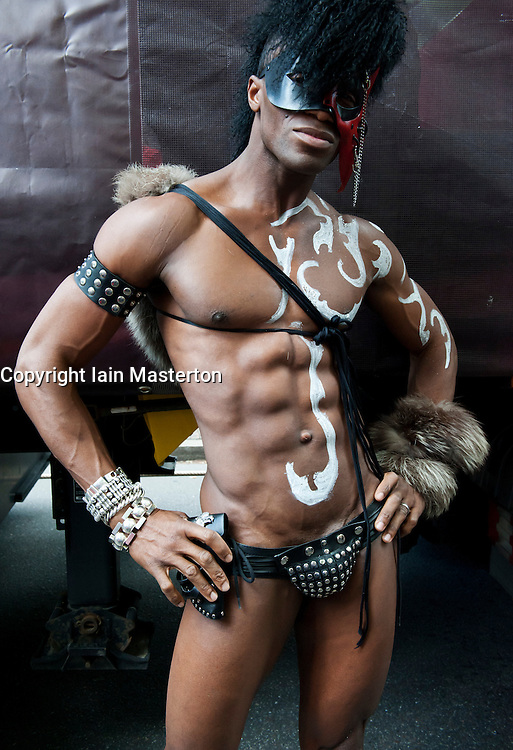 Man posing at Christopher Street Day Parade in Berlin Germany 2011