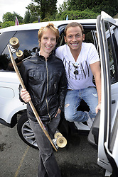 ©  licensed to London News Pictures. 10/06/2011. Cobham, UK. Chesney Hawkes and Joe Swash at the start line of  the The Supercar Challenge. Several cars worth more than £2 million in total left from the picturesque Leather Bottle pub, Cobham, for this third annual event which will see contestants take part in a series of challenges on the 1000 mile four day event. See special instructions for details. Picture credit should read Grant Falvey/LNP