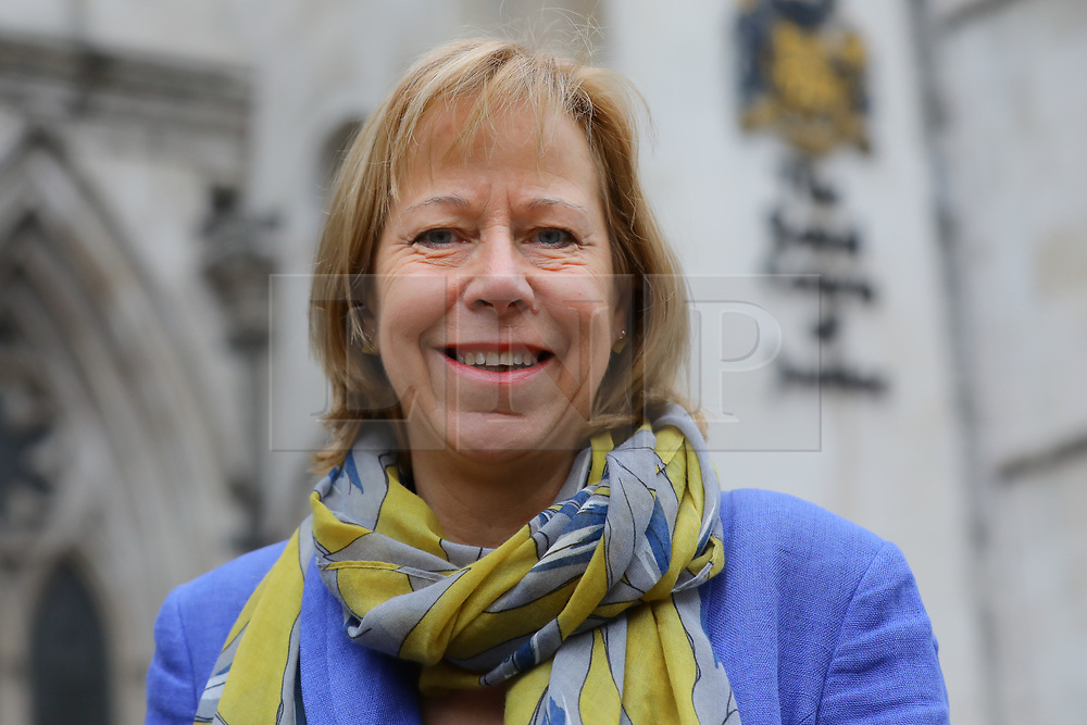 © Licensed to London News Pictures. 15/01/2019. London, UK.  Ruth Cadbury, MP for Brentford and Isleworth at a protest opposing the government's plans for a third runway at Heathrow Airport outside the Royal Courts of Justice. A pre-trial hearing challenging the legality of the government's decision takes place today with campaigners claiming the decision is unlawful as it ignores climate impact.  Photo credit: Vickie Flores/LNP