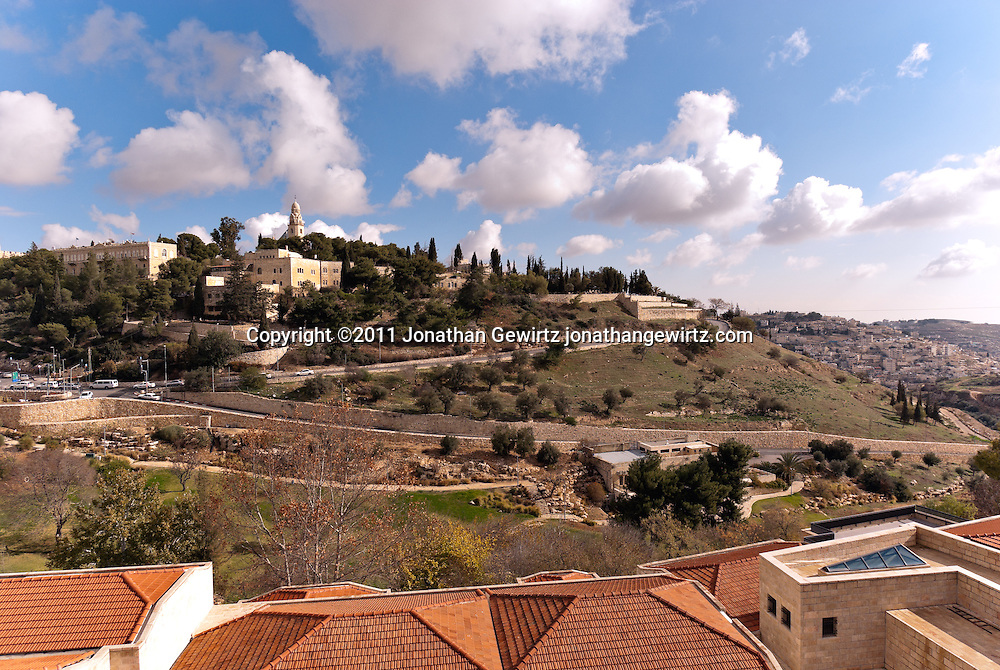 View from the West of  Mount Zion and the Dormition Abbey. WATERMARKS WILL NOT APPEAR ON PRINTS OR LICENSED IMAGES.