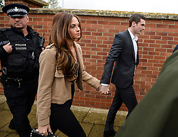 © Licensed to London News Pictures. 18/05/2015. Sunderland and England footballer Adam Jonhson and girlfriend Stacey Flounders (both centre) leave Peterlee Magistrates court where he faced three counts of sexual activity with a child under 16 years and one offence of grooming. Photo credit: Nigel Roddis/LNP