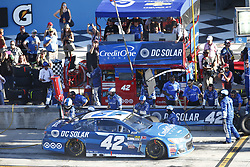 November 19, 2017 - Homestead, Florida, United States of America - November 19, 2017 - Homestead, Florida, USA: Kyle Larson (42) comes down pit road for service during the Ford EcoBoost 400 at Homestead-Miami Speedway in Homestead, Florida. (Credit Image: © Justin R. Noe Asp Inc/ASP via ZUMA Wire)