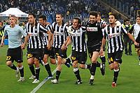 """Milos KRASIC, Luca TONI, Giorgio CHIELLINI, Alessandro DEL PIERO, Gianluigi BUFFON, Alberto AQUILANI esultanza a fine partita<br /> Celebration<br /> Roma 2/5/2011 Stadio """"Olimpico""""<br /> Football / Calcio Campionato Italiano Serie A 2010/2011<br /> Lazio Vs Juventus<br /> Foto Andrea Staccioli Insidefoto"""