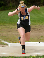 Suzie Barry of Bow begins her throw in the shot put final of the Division III Track Championships at Interlakes High School Sunday afternoon.  (Karen Bobotas/for the Concord Monitor)