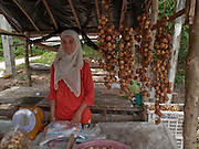 """Sept. 24, 2009 -- PATTANI, THAILAND: A Muslim woman sells longkong fruit, which is unique to Pattani, at a roadside stand in Pattani, Thailand. Thailand's three southern most provinces; Yala, Pattani and Narathiwat are often called """"restive"""" and a decades long Muslim insurgency has gained traction recently and nearly 4,000 people have been killed since 2004. The three southern provinces are under emergency control and there are more than 60,000 Thai military, police and paramilitary militia forces trying to keep the peace battling insurgents who favor car bombs and assassination.    Photo by Jack Kurtz"""