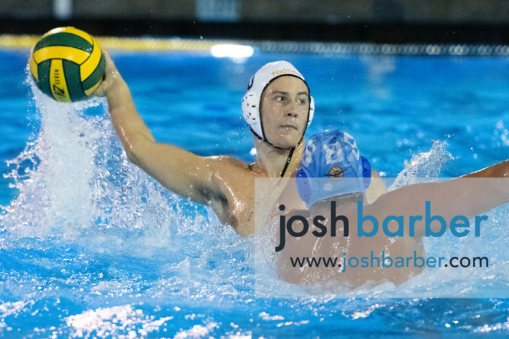 Foothill's Jack Matos, Corona del Mar's Shane Papa during a CIF-SS Division 2 Semifinal at William Woollett Jr. Aquatic Center on Wednesday, November 7, 2018 in Irvine, California. (Photo/Josh Barber)