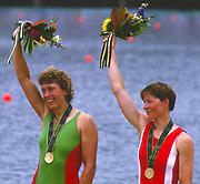 Atlanta, USA.,  left, Gold medalist, BLR W1X. Ekaterina KARSTEN, - KHODOTOVITCH, right Bronze medalist DEN W1X Trine HANSEN, 1996 Olympic Rowing Regatta Lake Lanier, Georgia [Mandatory Credit Peter Spurrier/ Intersport Images]