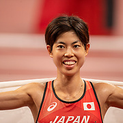 TOKYO, JAPAN August 7:  Ririka Hironaka of Japan after finishing the 10000m final for women during the Track and Field competition at the Olympic Stadium  at the Tokyo 2020 Summer Olympic Games on August 7th, 2021 in Tokyo, Japan. (Photo by Tim Clayton/Corbis via Getty Images)