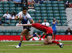May 26, 2019 - Twickenham, England, United Kingdom - Kazushi Hano of Japan.during The HSBC World Rugby Sevens Series 2019 London 7s Challenge Trophy Quarter Final Match 27 between Wales and Japan at Twickenham on 26 May 2019. (Credit Image: © Action Foto Sport/NurPhoto via ZUMA Press)