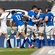 Londra 13/02/2021, Twickenham Stadium<br /> Guinness Six Nations 2021<br /> Inghilterra vs Italia <br /> gli azzurri festeggiano la meta di Monty Ioane